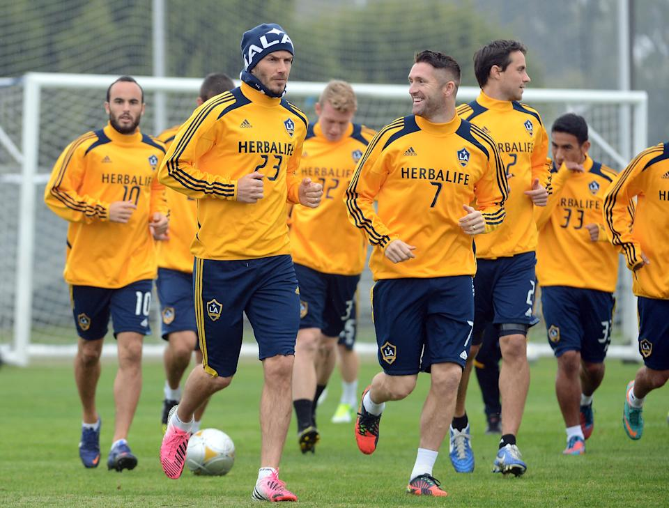 The Los Angeles Galaxy soccer team, in November 2012, wearing Herbalife jerseys | Harry How—Getty Images