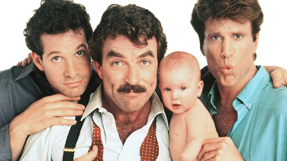 Steve Guttenberg, Tom Selleck and Ted Danson in Three Men and a Baby (Credit: Touchstone Pictures)