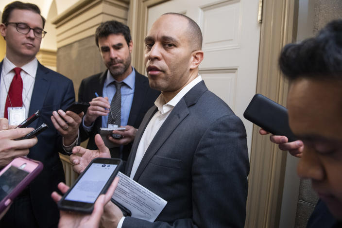 Rep. Hakeem Jeffries, D-N.Y., talks with reporters after a meeting with House leaders on a coronavirus aid package, March 13. (Tom Williams/CQ Roll Call via Getty Images)