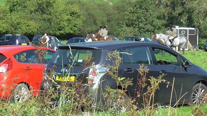 Most members of the hunt and followers were not wearing masks (Paul Tillsley)