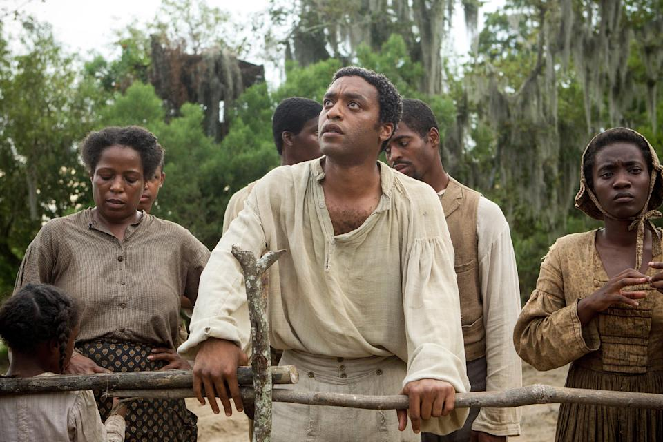 "Chiwetel Ejiofor plays a free Black man who's cruelly tricked and enslaved in Louisiana in ""12 Years a Slave."""