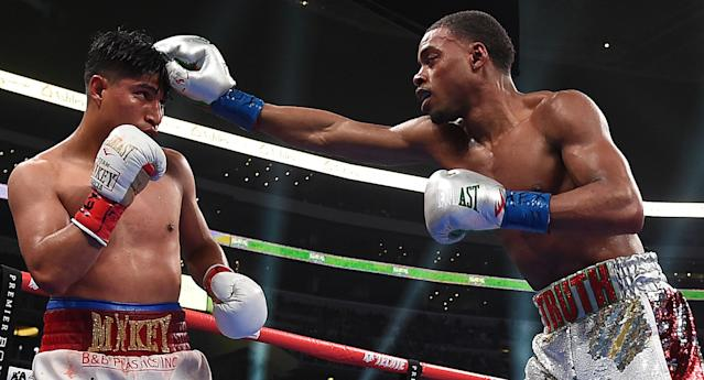 Errol Spence Jr. fights Mikey Garcia for the IBF welterweight title at AT&T Stadium on Saturday. (Frank Micelotta/Fox Sports)