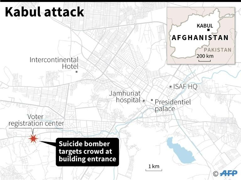 Map of Kabul, Afghanistan, locating the site of a voter registration station where a bomb killed many people on Sunday