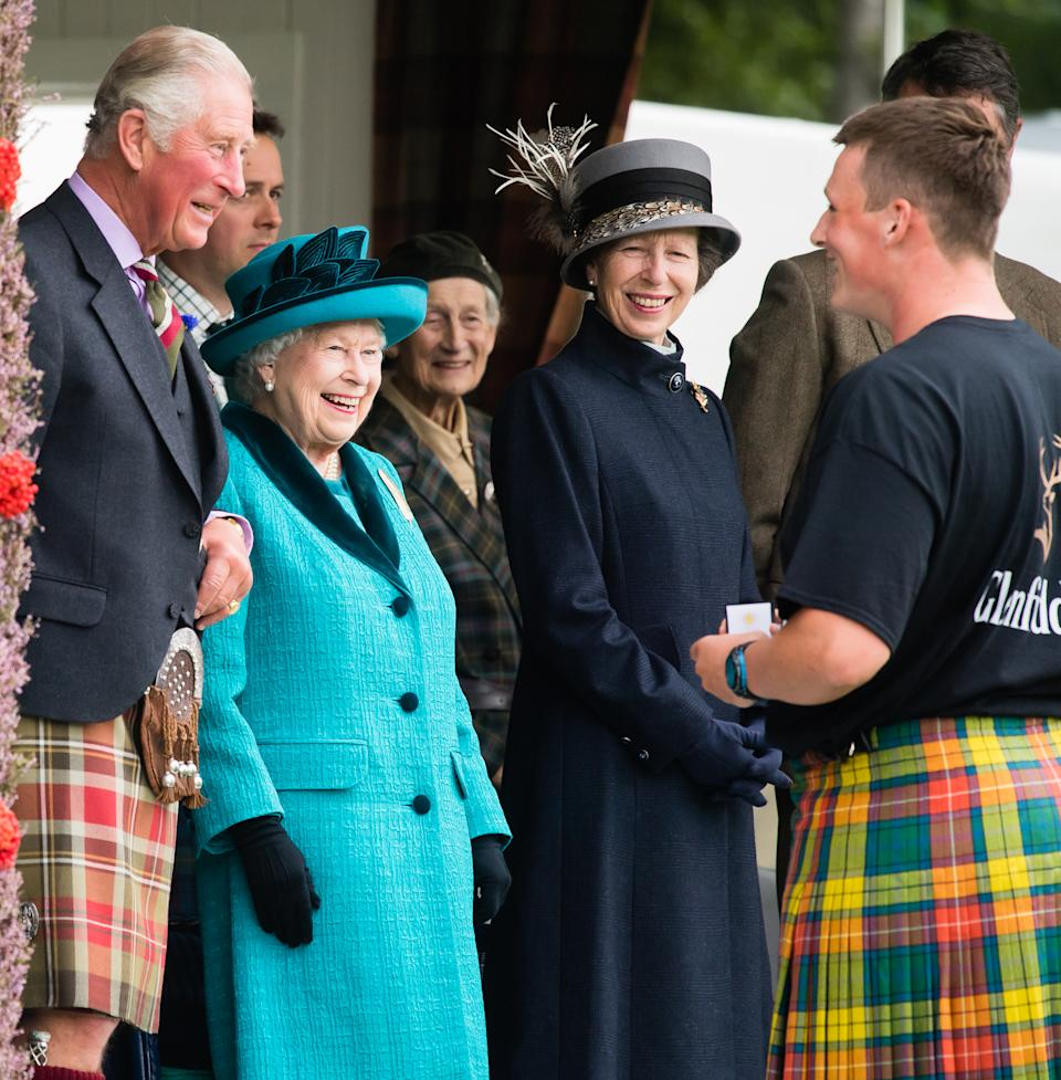 BRAEMAR, SCOTLAND - SEPTEMBER 01:  Prince Charles, Prince of Wales, Queen Elizabeth II and Princess Anne, Princes Royal attend the 2018 Braemar Highland Gathering at The Princess Royal and Duke of Fife Memorial Park on September 1, 2018 in Braemar, Scotland.  (Photo by Samir Hussein/Samir Hussein/WireImage)