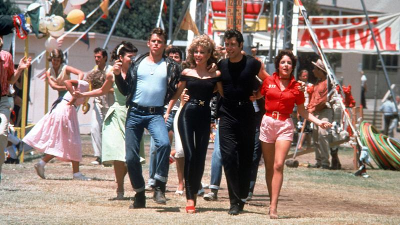 Jeff Conaway, Olivia Newton-John, John Travolta, Stockard Channing in Grease (Credit: Paramount Pictures)