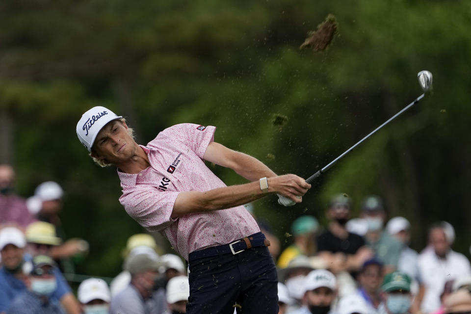 Will Zalatoris tees off on the 12th hole during the final round of the Masters golf tournament on Sunday, April 11, 2021, in Augusta, Ga. (AP Photo/David J. Phillip)