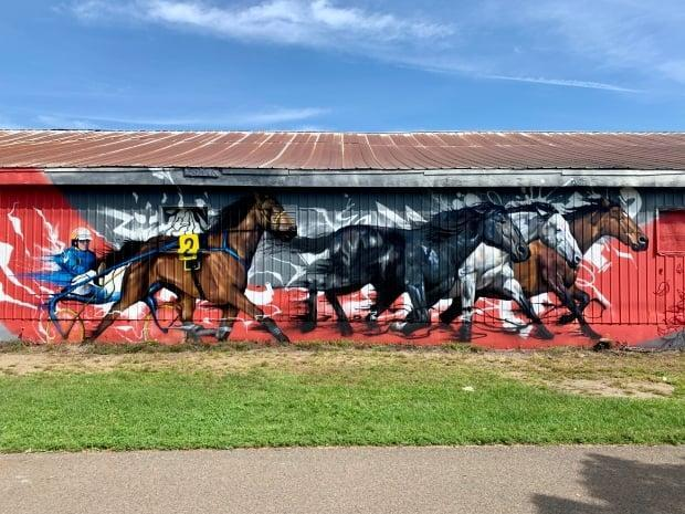 Three Halifax artists have created a mural on the wall of the horse barn at the New Brunswick Exhibition, which pays homage to the exhibition's horse-racing legacy. (Submitted by Anne Wilkins - image credit)