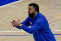 Pittsburgh coach Jeff Capel signals to his team during the second half of an NCAA college basketball game against Duke, Tuesday, Jan. 19, 2021, in Pittsburgh. (AP Photo/Keith Srakocic)