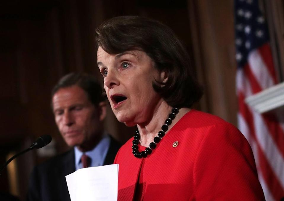 US Sen. Dianne Feinstein speaks as Sen. Richard Blumenthal looks on at a news conference on gun control at the Capitol June 20, 2016 in Washington, DC (AFP Photo/Alex Wong)