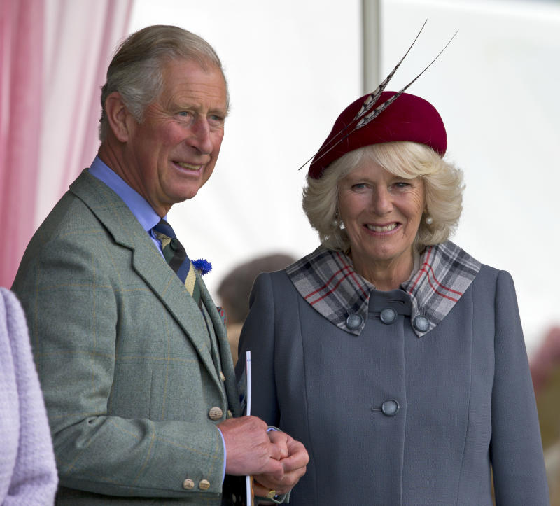 BRAEMAR, UNITED KINGDOM - SEPTEMBER 01: (EMBARGOED FOR PUBLICATION IN UK NEWSPAPERS UNTIL 48 HOURS AFTER CREATE DATE AND TIME) Prince Charles, Prince of Wales and Camilla Duchess of Cornwall attend the 2012 Braemar Highland Gathering at The Princess Royal & Duke of Fife Memorial Park on September 1, 2012 in Braemar, Scotland. (Photo by Indigo/Getty Images)
