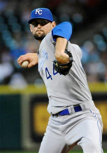 Kansas City Royals' Luke Hochevar winds up to pitch against the Houston Astros in the second inning of a baseball game, Tuesday, June 19, 2012, in Houston. (AP Photo/Pat Sullivan)