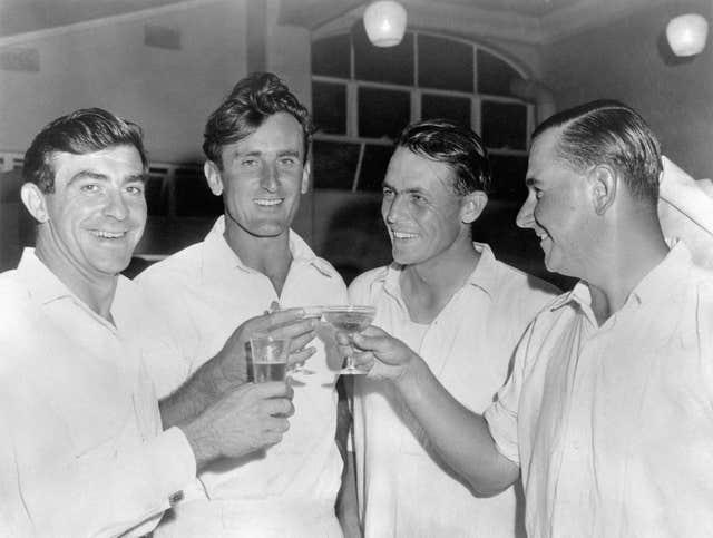 Ted Dexter celebrates an England victory with Fred Trueman, David Sheppard, and Colin Cowdrey