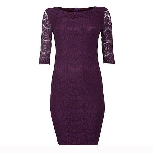 "<a target=""_blank"" href=""http://www.newlook.com/shop/womens/dresses/purple-eyelash-lace-3-4-sleeve-dress_264388050""><b>Purple lace ¾ dress - £24.99 – New Look</b></a><br><br>If you're looking to show off your figure, choose this bodycon style from New Look that hugs your curves. The gorgeous purple shade is great for adding a little colour to your winter wardrobe too."