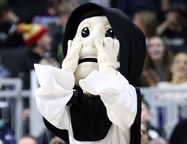 Providence College mascot Friar Dom melts faces. (Getty Images)