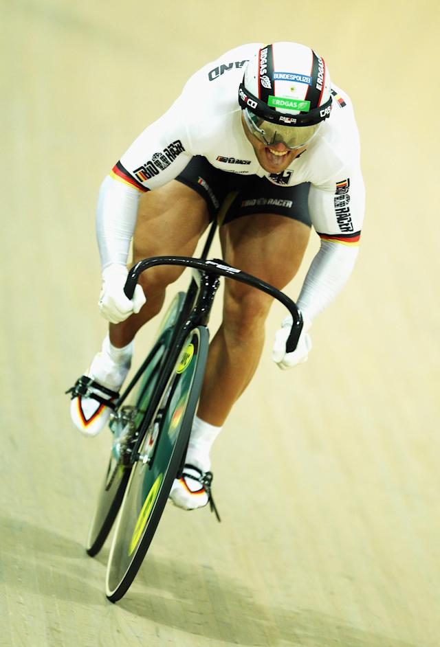 PRUSZKOW, POLAND - NOVEMBER 06: Robert Forstemann of Germany rides in the Men's Sprint on day two of the European Elite Track Cycling Championships at the BGZ Arena on November 6, 2010 in Pruszkow, Poland. (Photo by Bryn Lennon/Getty Images)