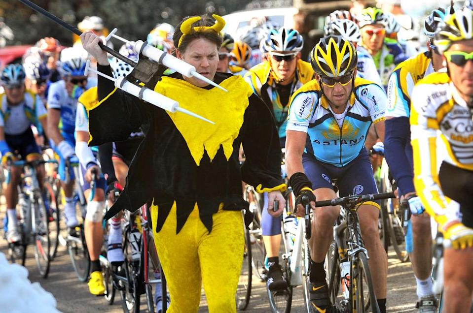 Lance Armstrong is hounded by a fan at the 2009 edition in his comeback year