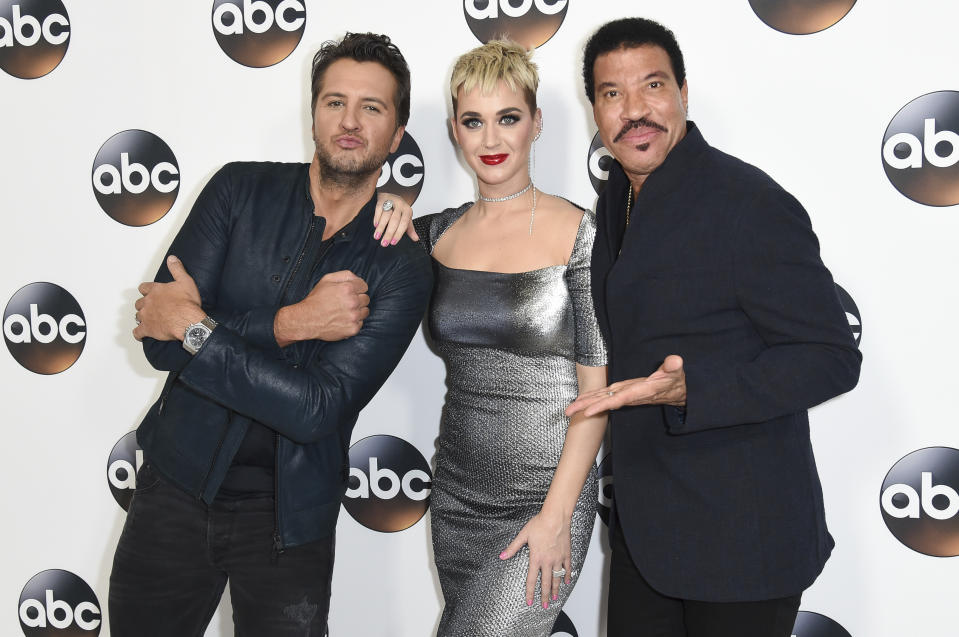 Luke Bryan, from left, Katy Perry and Lionel Richie attend the ABC All-Star Party arrivals during the Disney/ABC Television Critics Association Winter Press Tour on Monday, Jan. 8, 2018, in Pasadena, Calif. (Photo by Richard Shotwell/Invision/AP)