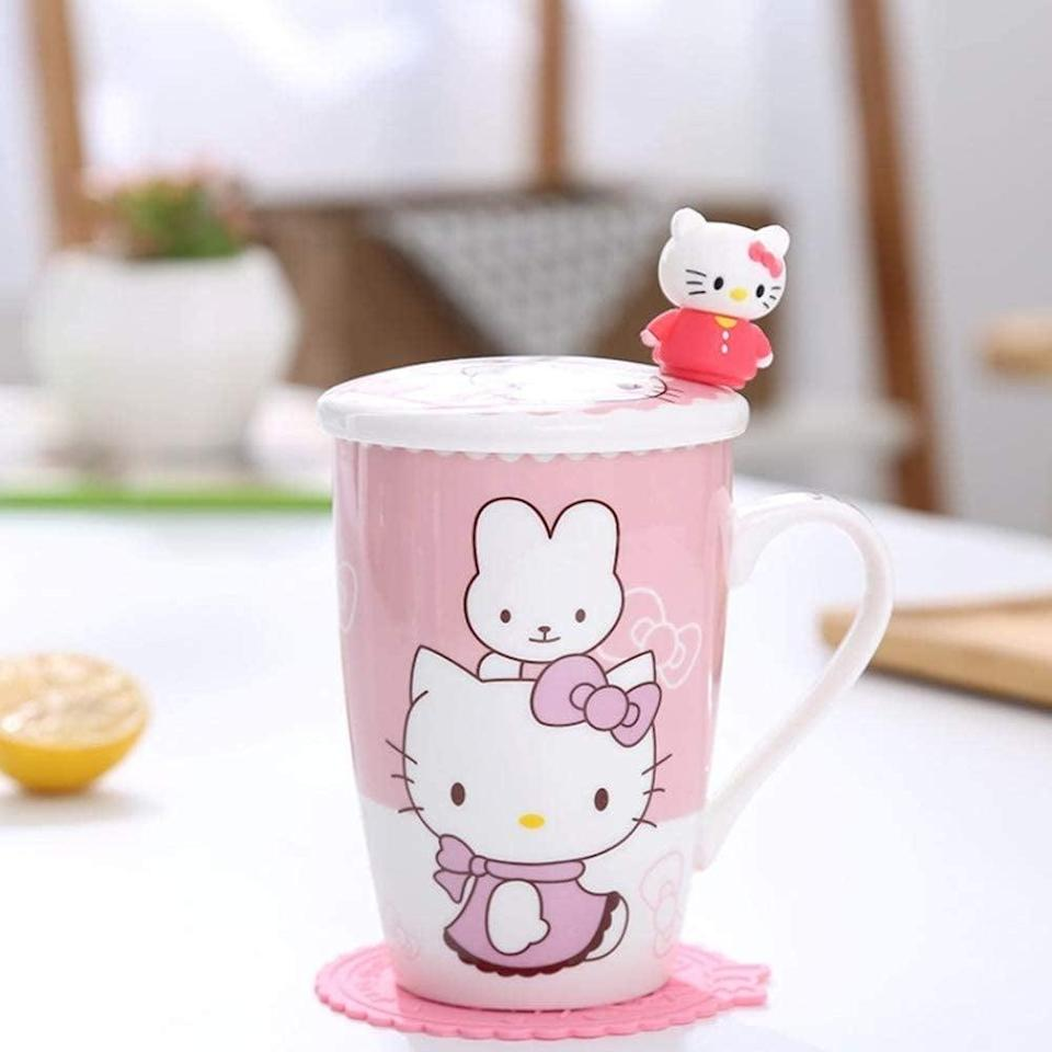 <p>Spend your afternoon tea time with the <span>YOURNELO Hello Kitty Ceramic Mug with Lid</span> ($14),</p>