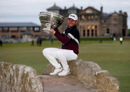 England's Tyrrell Hatton celebrates winning the Alfred Dunhill Links Championship with the trophy Action Images via Reuters/Craig Brough