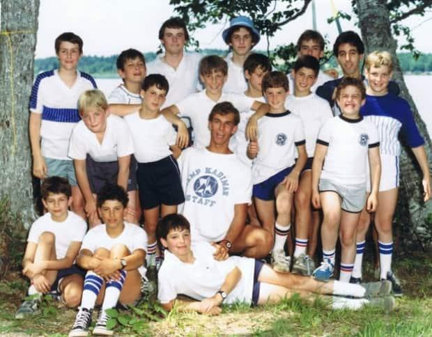 Michael Pink, centre, with his campers in 1985.