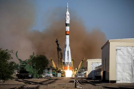 Russian Soyuz-2.1a booster with the Soyuz MS-14 spacecraft blasts off at the Baikonur Cosmodrome