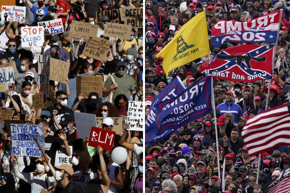 In this combination of photos, on June 7, 2020, protesters participating in a Black Lives Matter rally, left, march to downtown Pittsburgh to protest the death of George Floyd and people listen as President Donald Trump speaks during a rally Jan. 6, 2021, in Washington. Some charged in the Jan. 6 riot at the U.S. Capitol as well as their Republican allies claim the Justice Department is treating them harshly because of their political views. They also say those arrested during last year's protests over racial injustice were given leniency. Court records tell a different story. An Associated Press review of court documents in more than 300 federal cases stemming from the protests sparked by George Floyd's death last year shows that dozens of people charged have been convicted of serious crimes and sent to prison. (AP Photos)