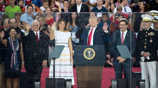 PHOTO: President Donald Trump, first lady Melania Trump, Vice President Mike Pence and second lady Karen Pence stand on stage after President Donald Trump spoke at in front of the Lincoln Memorial, July 4, 2019, in Washington. (Sarah Silbiger/Getty Images)