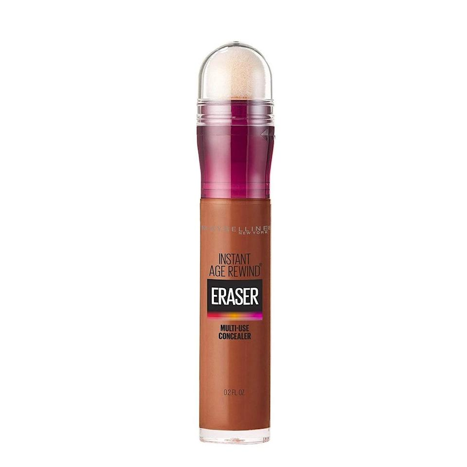 """This <a href=""""https://www.glamour.com/gallery/best-concealers?mbid=synd_yahoo_rss"""" rel=""""nofollow noopener"""" target=""""_blank"""" data-ylk=""""slk:drugstore concealer"""" class=""""link rapid-noclick-resp"""">drugstore concealer</a> has been a favorite of makeup artists and beauty bloggers for years, so it's no surprise it was a bestseller for Prime Day. It instantly creates a luminous, refreshed-looking eye area, and the sponge applicator makes it a breeze to apply in a hurry. $8, Maybelline. <a href=""""https://www.amazon.com/Maybelline-New-York-Treatment-Concealer/dp/B07Q9TZZRR/ref=sr_1_1_sspa?dchild=1&keywords=Maybelline%2BInstant%2BAge%2BRewind%2BConcealer&qid=1602249981&sr=8-1-spons&spLa=ZW5jcnlwdGVkUXVhbGlmaWVyPUFZTEgwUklSWVMwOEsmZW5jcnlwdGVkSWQ9QTA2OTQwNTkyNVBHNklWWVowNzNMJmVuY3J5cHRlZEFkSWQ9QTAzNDA1MThBVkZIRUUzN04zWE4md2lkZ2V0TmFtZT1zcF9hdGYmYWN0aW9uPWNsaWNrUmVkaXJlY3QmZG9Ob3RMb2dDbGljaz10cnVl&th=1"""" rel=""""nofollow noopener"""" target=""""_blank"""" data-ylk=""""slk:Get it now!"""" class=""""link rapid-noclick-resp"""">Get it now!</a>"""