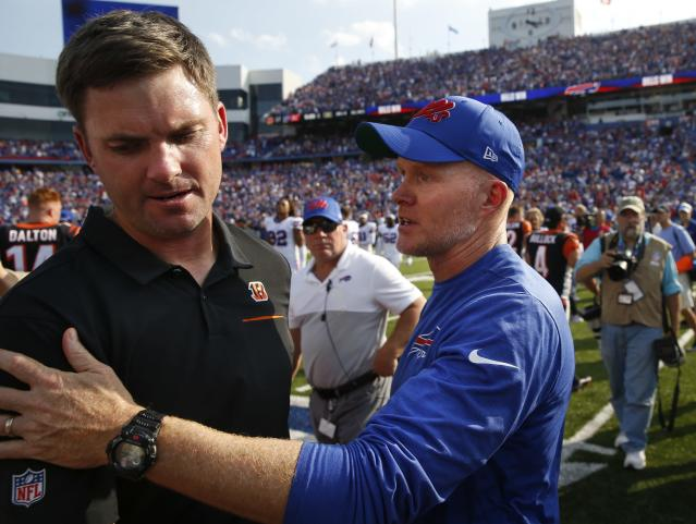 Buffalo Bills head coach Sean McDermott, right, talks to Cincinnati Bengals head coach Zac Taylor after an NFL football game Sunday, Sept. 22, 2019, in Orchard Park, N.Y. The Bills won 21-17. (AP Photo/John Munson)