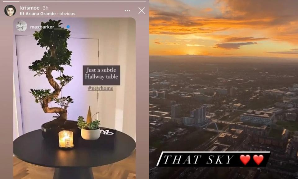 A photograph of a hallway table with a plant and candles on it (L) and the view of Manchester against the sunset