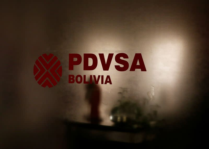 PDVSA logo is seen at their headquarters in La Paz