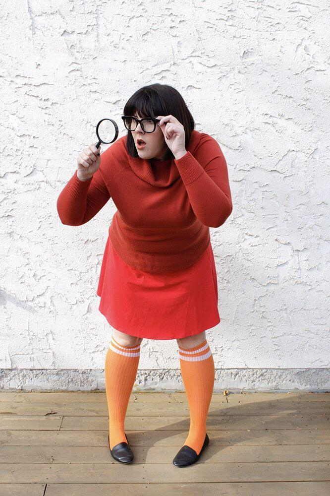 """<p>If you have a short, dark bob (and lots of orange and red in your closet), it's easy to dress up as the brainiest member of the <em>Scooby Doo</em> crew<em>.</em> Just don't always lose your glasses like Velma does!</p><p><em><a href=""""https://thetrendyfiles.com/blog/velma-daphne-costumes"""" rel=""""nofollow noopener"""" target=""""_blank"""" data-ylk=""""slk:Get the tutorial at The Trendy Files »"""" class=""""link rapid-noclick-resp"""">Get the tutorial at The Trendy Files »</a></em></p>"""