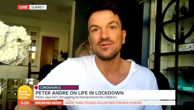 Peter Andre admitted he is finding social distancing from his own wife difficult. (ITV)