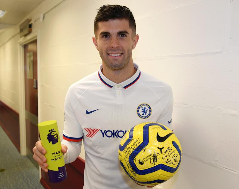 BURNLEY, ENGLAND - OCTOBER 26: Christian Pulisic of Chelsea collects the match ball and the Man of the Match award after his hattrick during the Premier League match between Burnley FC and Chelsea FC at Turf Moor on October 26, 2019 in Burnley, United Kingdom. (Photo by Darren Walsh/Chelsea FC via Getty Images)