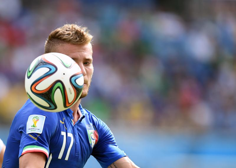 Italy's forward Alessio Cerci eyes the ball during a Group D football match between Italy and Uruguay at the Dunas Arena in Natal during the 2014 FIFA World Cup on June 24, 2014