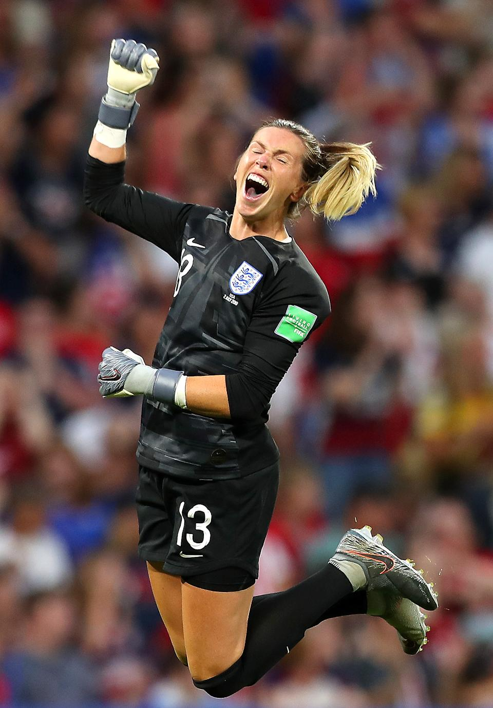 Carly Telford of England celebrates after her team's first goal during the 2019 FIFA Women's World Cup France Semi Final match between England and USA at Stade de Lyon on July 02, 2019 in Lyon, France. (Photo by Naomi Baker - FIFA/FIFA via Getty Images)