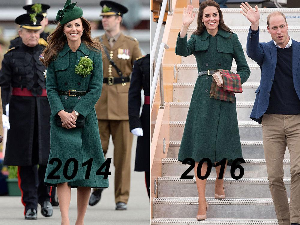 <p>While arriving to the Yukon on Sept. 27 as part of the royal family's eight day trip of Canada, the Duchess of Cambridge braved the chilly weather in a hunter green wool coatdress from British brand Hobbs. It's one we've seen before – Princess Kate stepped out in the elegant coat for St. Patrick's Day in 2014, accoessorized with a colour-coordinated fascinator. </p>