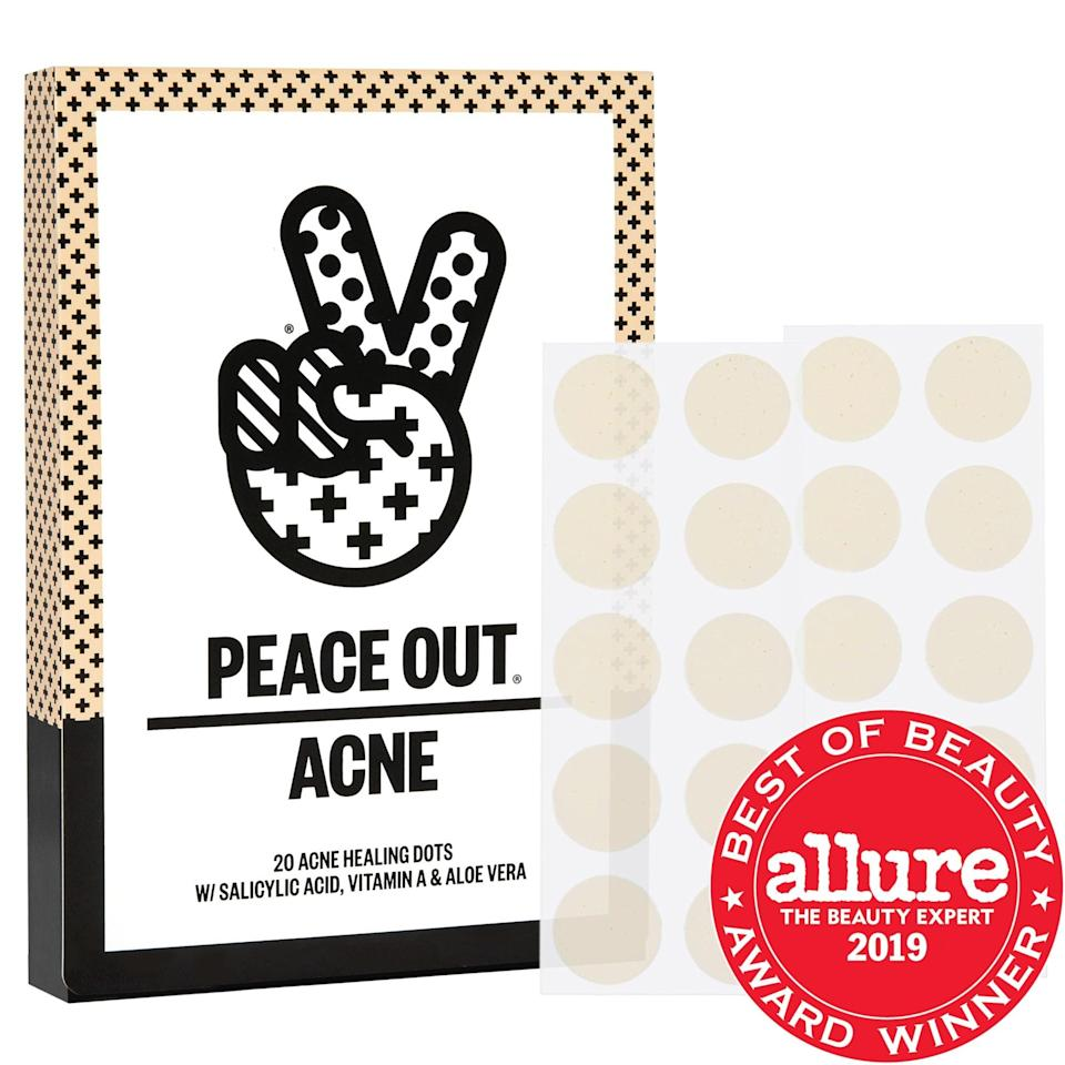 """<p><strong>Item:</strong> <span>Peace Out Acne Healing Dots</span> ($19)</p> <p><strong>What our editor said:</strong> """"After buying the patches, I had about 24 hours until I needed to wear a full face of <a class=""""link rapid-noclick-resp"""" href=""""https://www.popsugar.com/Wedding"""" rel=""""nofollow noopener"""" target=""""_blank"""" data-ylk=""""slk:wedding"""">wedding</a> makeup. I stuck a few of the dots to my most noticeable spots and crossed my fingers. I changed out the bandages every few hours and, excuse the grossness, noticed they were extracting gunk from the inside out . . . I didn't mind wearing the dots, since they actually kept my inflamed spots close to flesh toned for me. When they did come off, I noticed the zits had reduced in size and were significantly less red."""" - Karenna Meredith, assistant editor, Trending and Viral Features</p> <p>If you want to read more, here is <a href=""""https://www.popsugar.com/beauty/Peace-Out-Acne-Healing-Dots-Review-46087685"""" class=""""link rapid-noclick-resp"""" rel=""""nofollow noopener"""" target=""""_blank"""" data-ylk=""""slk:the complete review"""">the complete review</a>.</p>"""