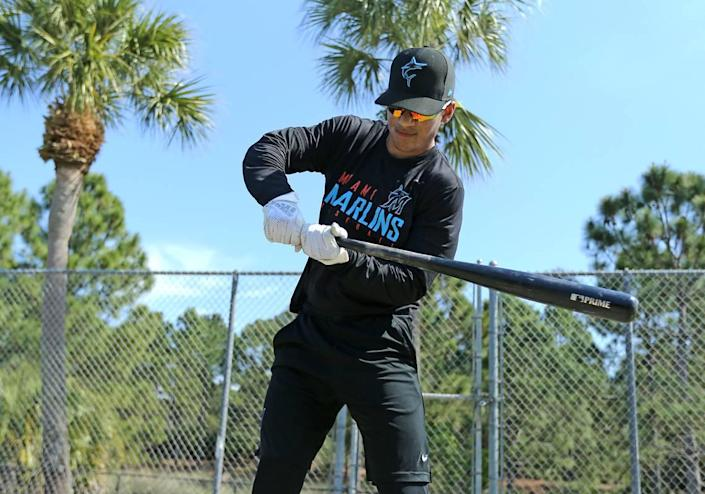 Miami Marlins Minor League outfielder Victor Mesa Jr poses for the photo during spring training workouts at the Roger Dean Chevrolet Stadium on Tuesday, March 5, 2019 in Jupiter, FL.