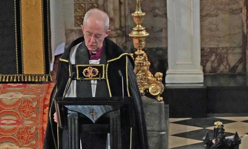 The archbishop of Canterbury, Justin Welby, speaks at the funeral service