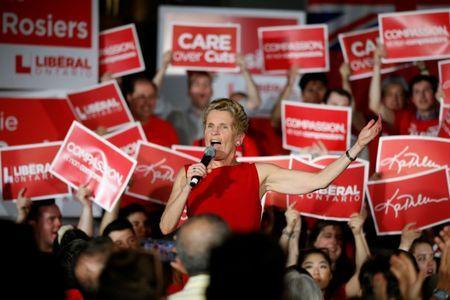 Ontario Liberal leader and Premier Kathleen Wynne speaks during a campaign rally in Ottawa, Ontario, Canada, May 9, 2018. REUTERS/Chris Wattie