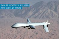 """<p>The Predator was the first military """"drone"""" (though the more <a href=""""https://www.popularmechanics.com/flight/drones/a1500/4213467/"""" rel=""""nofollow noopener"""" target=""""_blank"""" data-ylk=""""slk:accurate term would be &quot;unmanned aerial vehicle&quot;"""" class=""""link rapid-noclick-resp"""">accurate term would be """"unmanned aerial vehicle""""</a>). It became famous famous for its role in fighting the Taliban in Afghanistan. The Predator can be remotely piloted to fly over a 400-nautical-mile course, circle its target for up to 14 hours, and return to base. The extensive use of the Predator not only to gather intel but also to fire Hellfire laser-guided missiles marked the beginning of the modern era of extensive drone warfare by the U.S. military.</p>"""