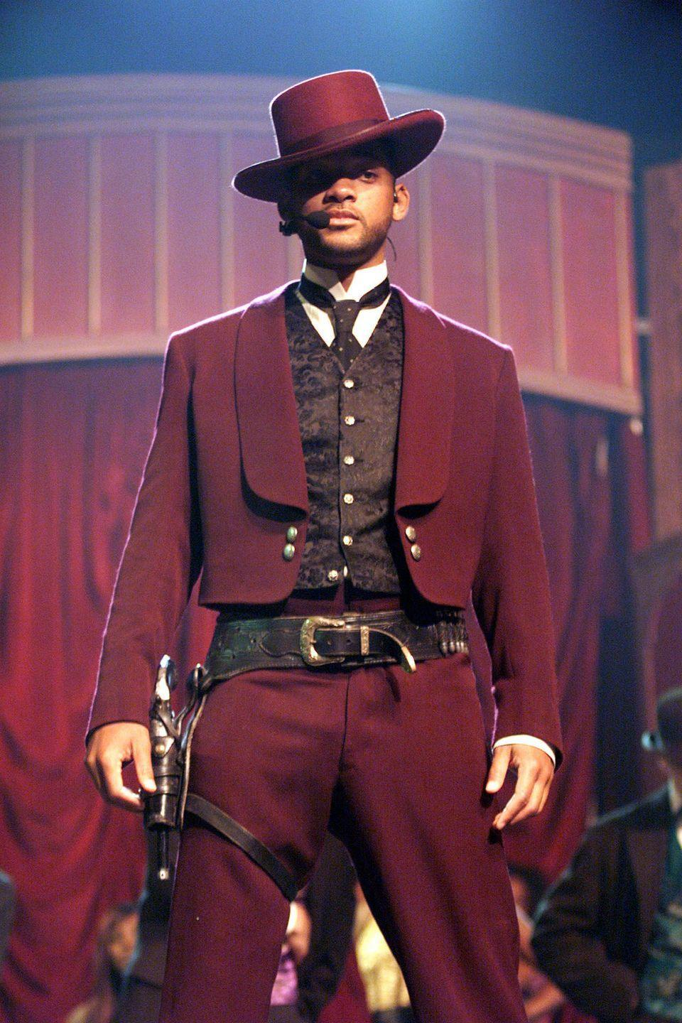 <p>Will Smith performs the song 'Wild Wild West,' on the 1999 MTV Movie Awards at the Barker Hanger in Santa Monica, California, June 5, 1999.</p>