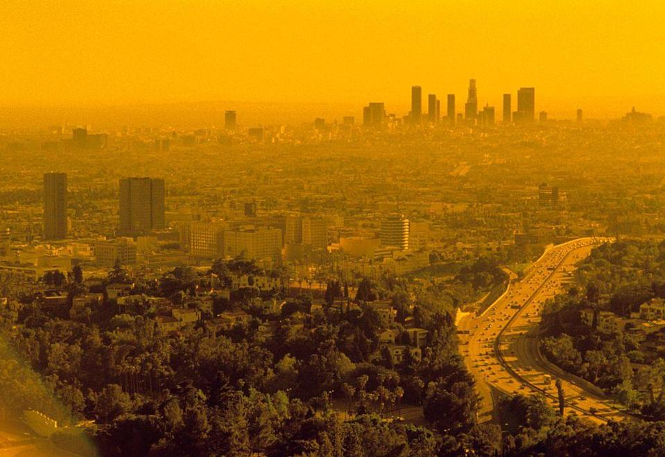 <p>The Los Angeles skyline as it appeared in the 1990s. The tallest buildings in the city at the time were Two California Plaza and the U.S. Bank Tower.</p>
