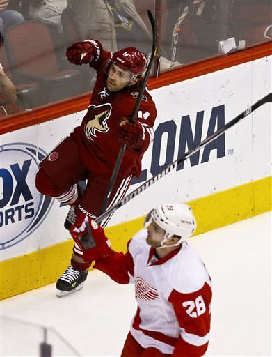 Phoenix Coyotes' Chris Conner (14) celebrates his goal as Detroit Red Wings' Carlo Colaiacovo (28) holds his stick up in frustration in the second period during an NHL hockey game on Thursday, April 4, 2013, in Glendale, Ariz. (AP Photo/Ross D. Franklin)