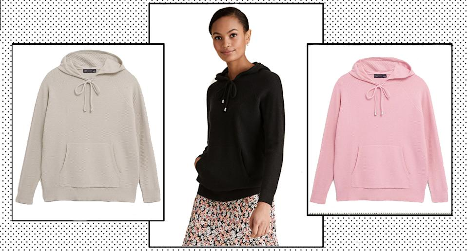 Marks and Spencer's Textured Knitted Hoodie is the loungewear must-have we all need - and it's on sale.  (Marks and Spencer/ Yahoo Style UK)