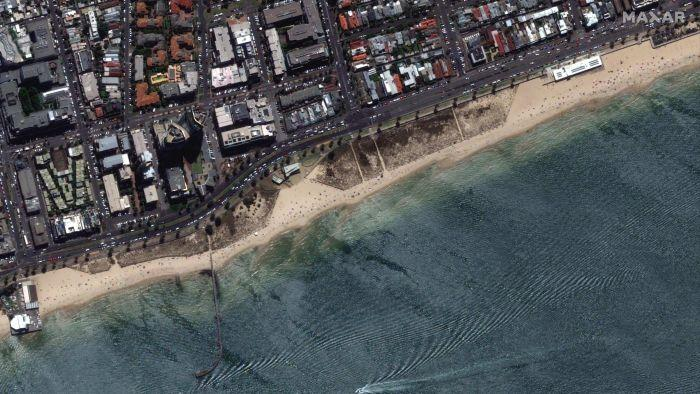 A satellite image of a busy beach in South Melbourne after lockdown restrictions eased in Melbourne