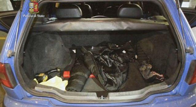 Police believe the woman was driven to the farmhouse in the back of the car while in a suitcase. Photo: AP