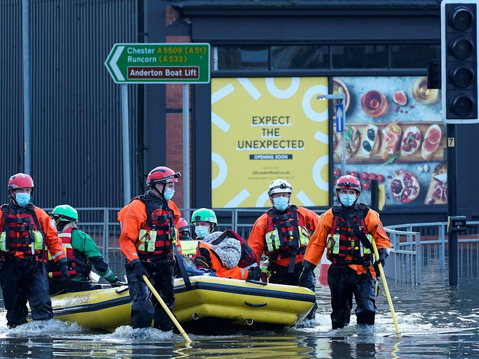 Elderly residents are evacuated from a care home by emergency services in Northwich (Getty Images)