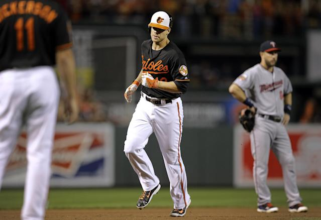 Baltimore Orioles' Chris Davis, center, rounds the bases after hitting a grand slam in the fourth inning of a baseball game against the Minnesota Twins, Friday, Aug. 29, 2014, in Baltimore. (AP Photo/Patrick Semansky)